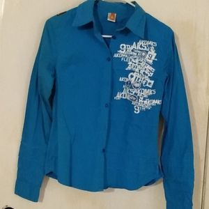 Akdmks blue button-down long sleeve shirt